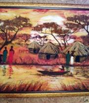 Картина из шерсти Окрестности кратера Нгоронгоро (Ngorongoro) мастера Макарова Оксана Александровна