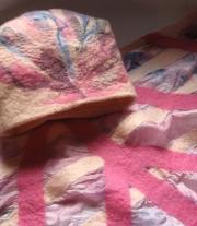 Валяный комплект:  шарф и берет