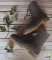 Валенки-ботинки на шнуровке коричневые