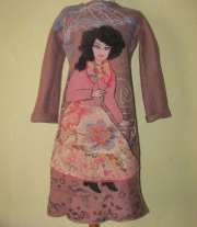 Валяное бежевое платье