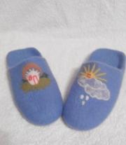 Тапочки  из голубой шерсти
