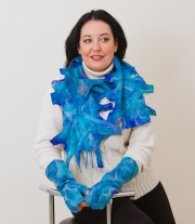 Валяные шарф и митенки (комплект)