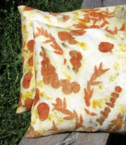 Подушки декоративные с эко принтом. Валяние. Эко стиль.