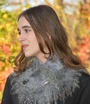Шарф-комір валяний сірий натуральний