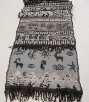 Валяный палантин, шарф ′Первые люди′ нунофелтинг