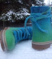 ботинки войлочные с войлочными шнуровками