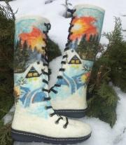 валяные ботинки   Закат в лесу