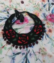 Валяный воротничок, арт колье ′Black and Red′