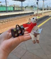 Мышонок путешественник .Валяна игрушка мышка