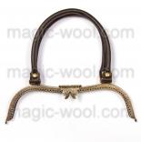 Рамочные замки, цепочки для сумок рамка фермуар 27см*7,8см с кожаной ручкой