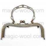 Рамочные замки, цепочки для сумок рамочный замок (фермуар) с ажурной ручкой 19см