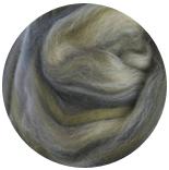 многоцветный бленд (микс)  18 мкм 70% шерсть+ 30%шелк tussah оливковый рай