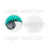 глазки для игрушек подвижные цветные зеленые10мм