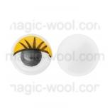 глазки для игрушек подвижные цветные желтые 10мм