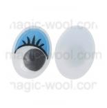 глазки для игрушек подвижные овальные синие 12мм*15мм