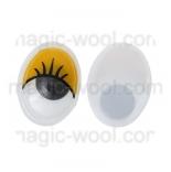 глазки для игрушек подвижные овальные желтые 12мм*15мм