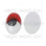 глазки для игрушек подвижные овальные красные 12мм*15мм