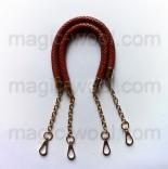 кожаные ручки для сумок плетеная светло коричневая с цепочкой 60см