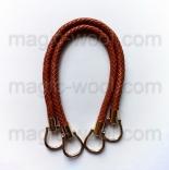 кожаные ручки для сумок плетеные темный верблюд 40см
