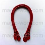 кожаные ручки для сумок красные с пряжкой 60см сплит кожа