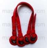 кожаные ручки для сумок красные с люверсами 40-55см pu leather