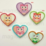 пуговицы декоративные сова в сердце