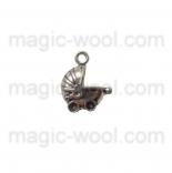 подвески металлические коляска 16мм*12мм старинное серебро