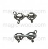 подвески металлические очки 20мм*7мм старинное серебро