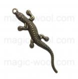 подвески металлические геккон 55мм*15мм античная бронза