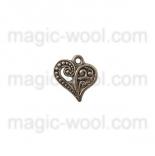 подвески металлические ажурное сердце 14мм*13мм старинное серебро