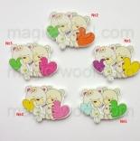 пуговицы декоративные медвежата с сердцем