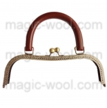 Рамочные замки, цепочки для сумок рамочный замок 27*10см с деревянной ручкой
