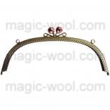 Рамочные замки, цепочки для сумок металлическая рамка 24,5*8см вишня