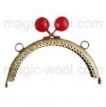 Рамочные замки, цепочки для сумок рамочный замок 12,5см*6,5см с красной застежкой