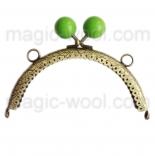 Рамочные замки, цепочки для сумок рамочный замок 12,5см*6,5см с зеленой застежкой