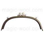 Рамочные замки, цепочки для сумок металлическая рамка 24,5*8см белая
