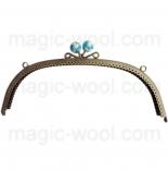 Рамочные замки, цепочки для сумок металлическая рамка 24,5*8см голубая