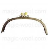 Рамочные замки, цепочки для сумок металлическая рамка 24,5*8см желтая