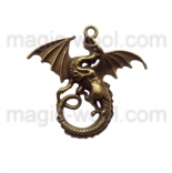 подвески металлические дракон 43мм*46мм*6мм античная бронза