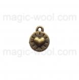 подвески металлические мини сердце 8мм*10мм античная бронза