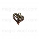 подвески металлические ажурное сердце 14мм*13мм античная бронза