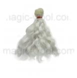 волосы для кукол волнистые белые 15см