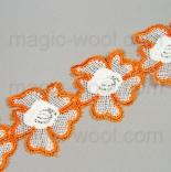 кружево оранжевые цветы на хлопке 5,5см