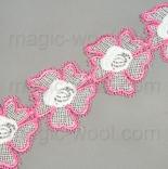 кружево розовые цветы на хлопке 5,5см