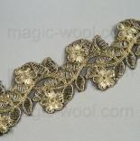 кружево металлизированное на сетке золото 55мм