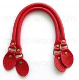 кожаные ручки для сумок красные с пряжкой 40см сплит кожа