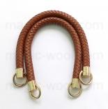 кожаные ручки для сумок светло коричневые плетеные 37см
