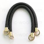 кожаные ручки для сумок черные плетеные 37см