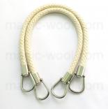 кожаные ручки для сумок плетеные крем с кольцами 50см