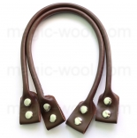кожаные ручки для сумок коричневые на кнопках 50см